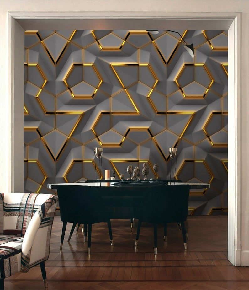 Geometric Wallpaper Self Adhesive Peel And Stick 3d Effect Geometric Wall Mural Removable Abstract Shapes Wallpaper Gold And Grey Wall Mural In 2021 Wallpaper Interior Design Interior Wallpaper Geometric Wallpaper