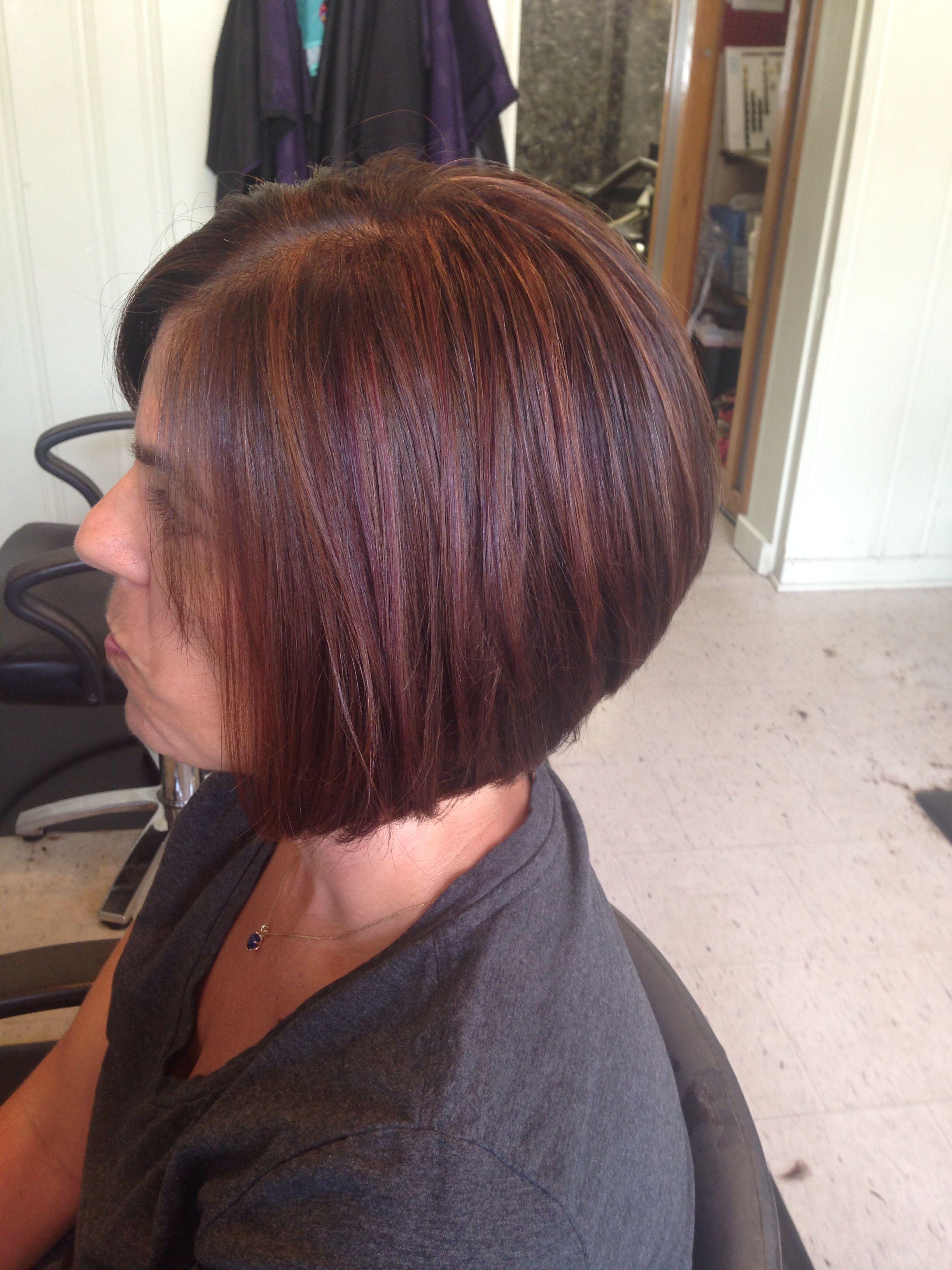 Violet Red And Caramel Highlights Angled Bob Haircut Hair I Ve