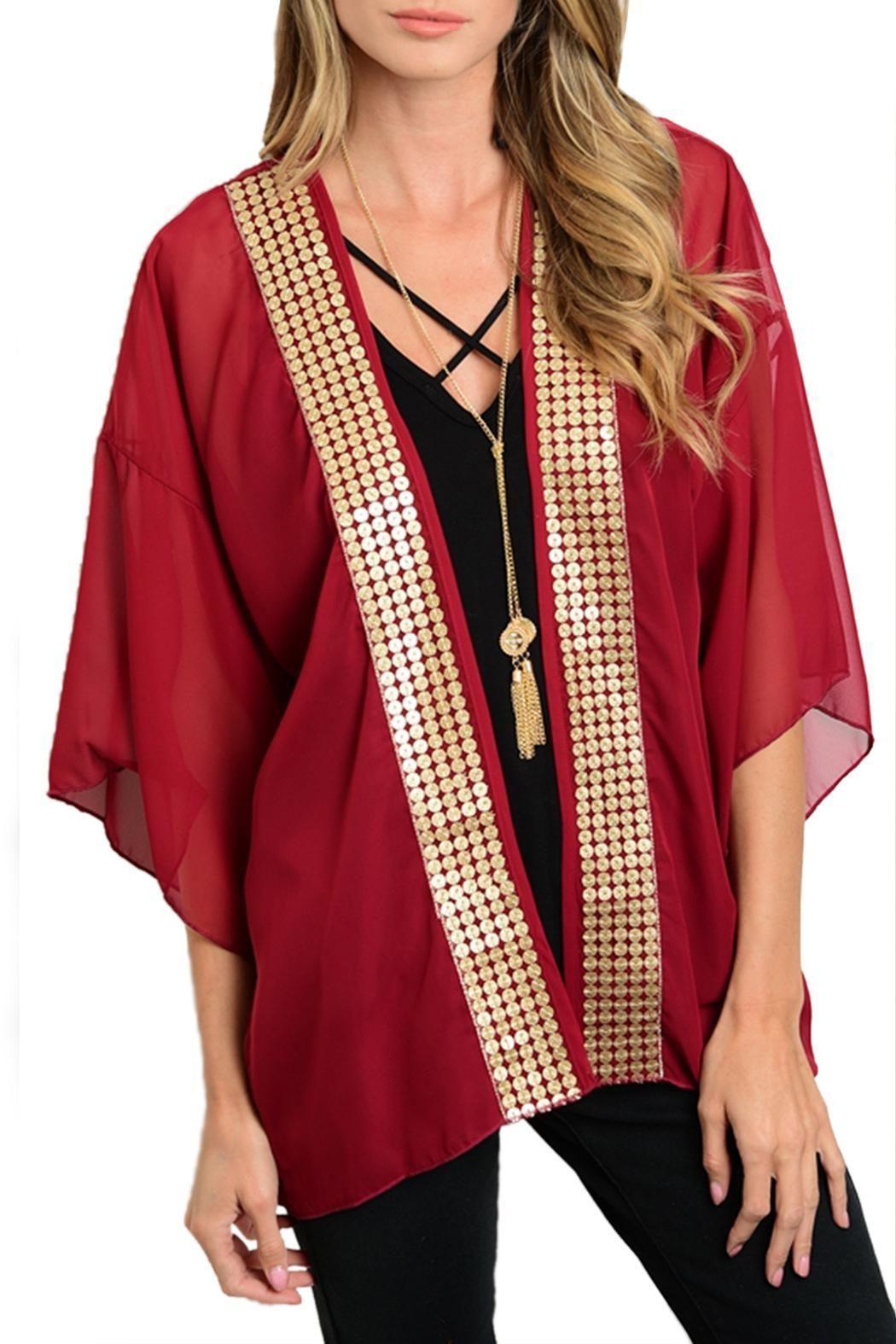 Stylebook Wine Wrap | Chiffon kimono, Front design and Kimono style