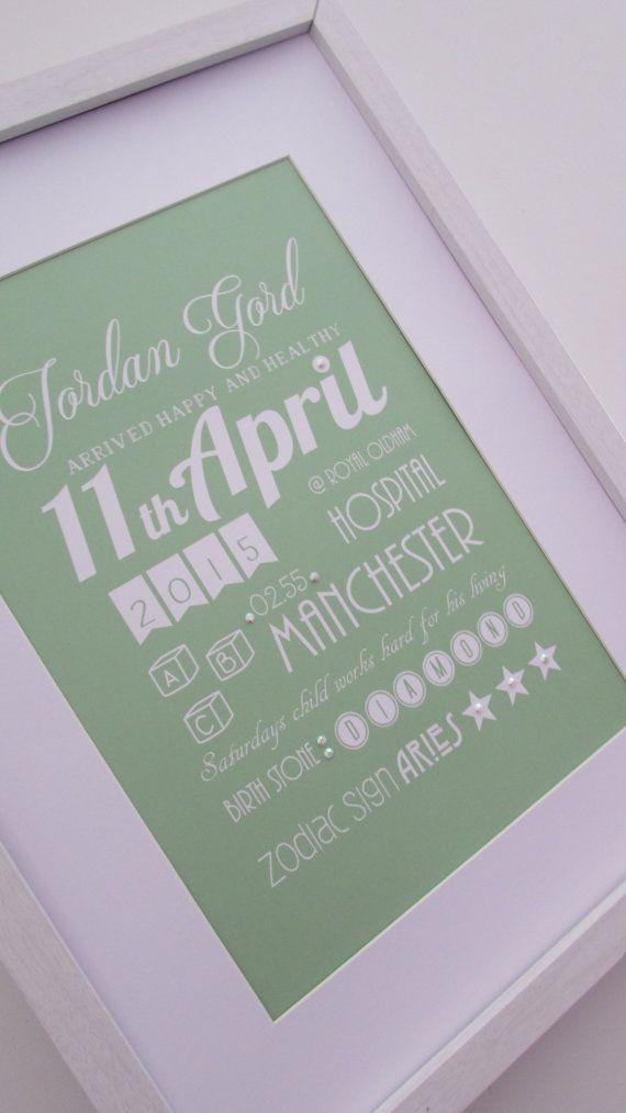 ABC Personalised Baby Birth Fine Art Gift Keepsake Print - Soft Moss Green . Nursery Bedroom or Playroom