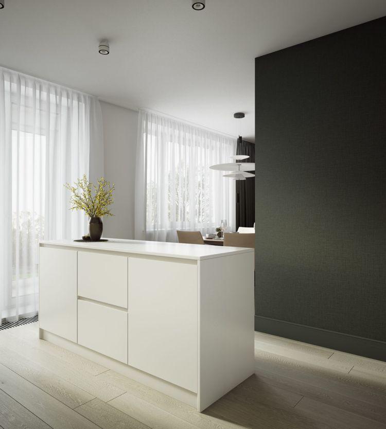 weiss grau beige wohnzimmer küche essbereich trennwand #dream #house