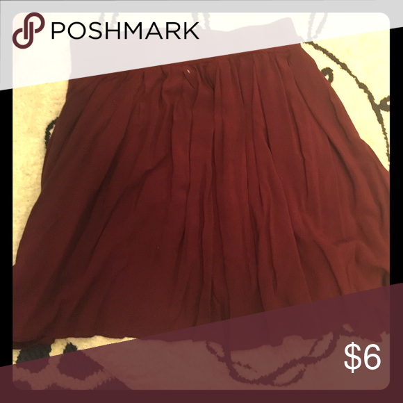Maroon Bethany Mota Skater Skirt Flowing maroon skirt perfect for summer and autumn Aeropostale Skirts Circle & Skater
