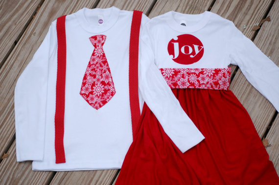 Christmas matching brother sister sibling set - red and white - tie and  suspenders and joy dress - holiday photo picture outfits - Christmas Matching Brother Sister Sibling Set - Red And White - Tie