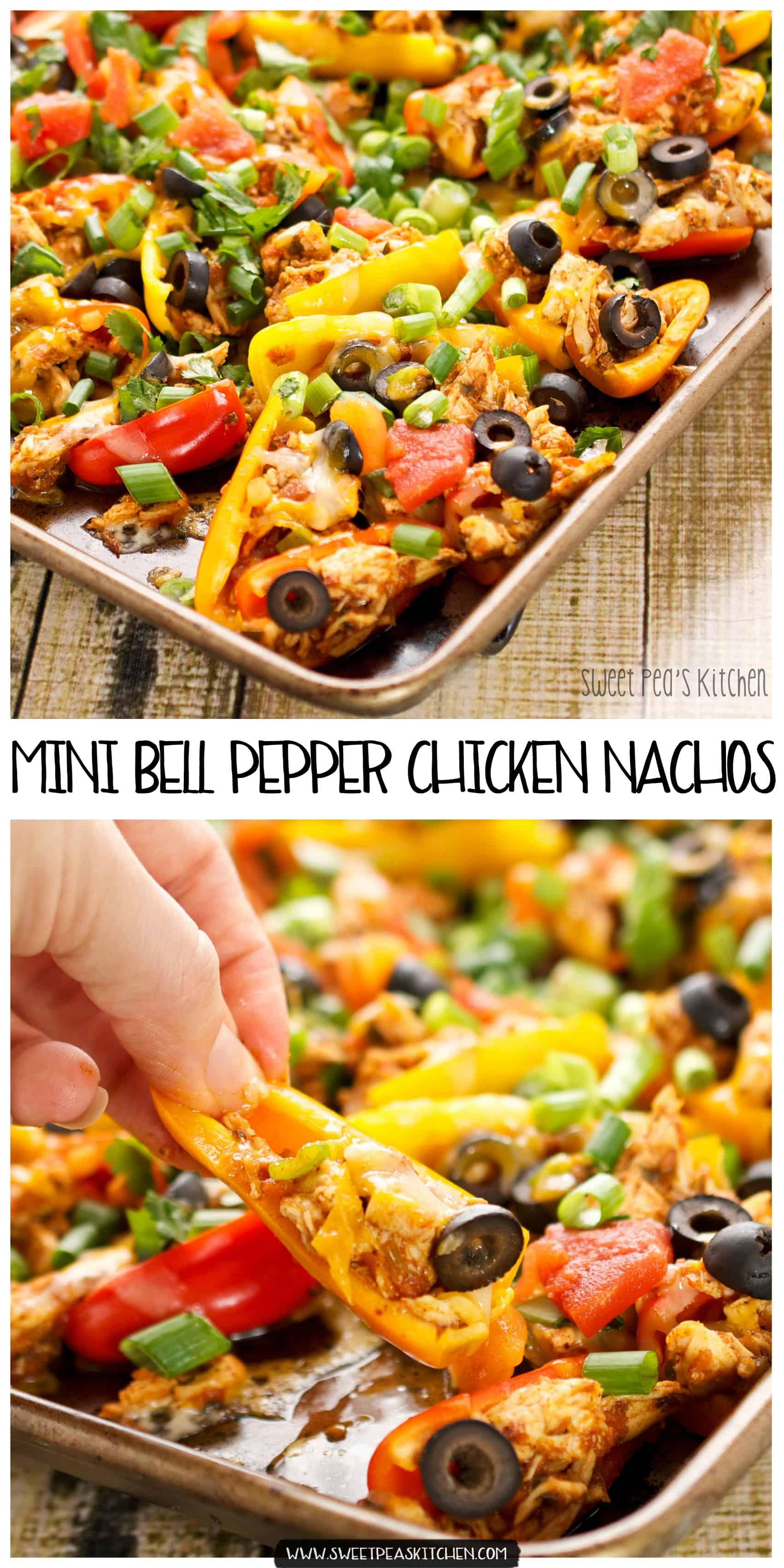 Chicken Healthy Nachos On Mini Bell Peppers Sweet Pea S Kitchen Recipe Stuffed Peppers Healthy Nachos Recipes
