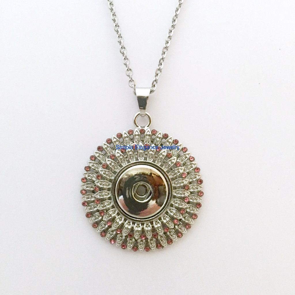 """Large Pink Rhinestone Snap Pendant 18mm-20mm Snaps (Includes 20"""" Stainless Steel Chain)"""