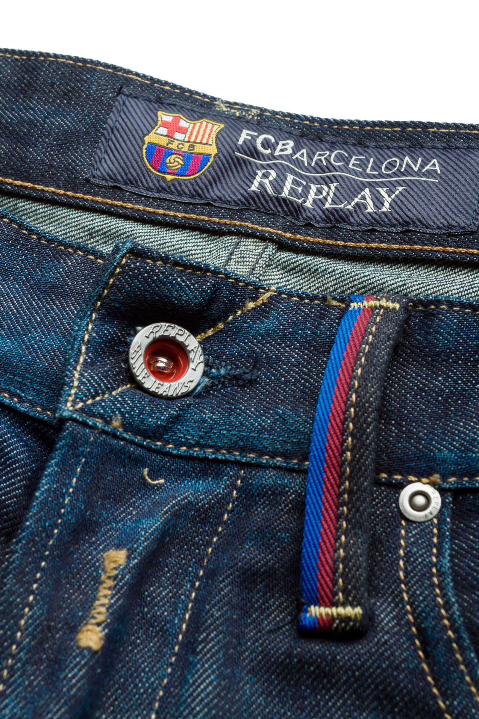 To mark the partnership with #Barcelona Football Club, #REPLAY invents the #denimzero, an ice treatment for one of the brand's bestselling style of jeans. A special type of abrasion using ice particles creates an intense used effect, so imbuing the season's must-have denims with a latest-generation green appeal.