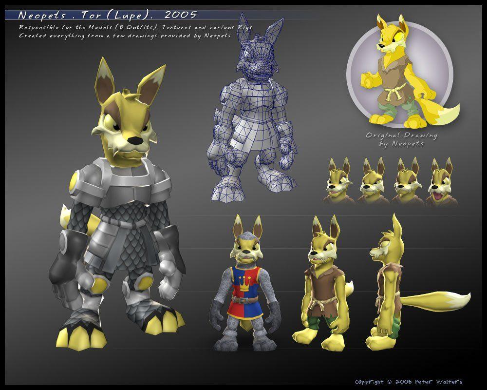 Tor model sheet from Neopets: The Darkest Faerie on PS2  model by