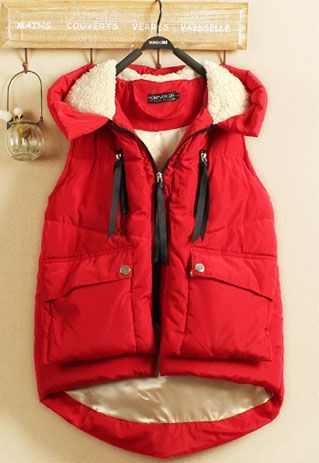 Price:$42.99 Material: Polyester / Wool Color: Red  Irregular Thicken Cargo Pockets Casual Frock Hooded Vest