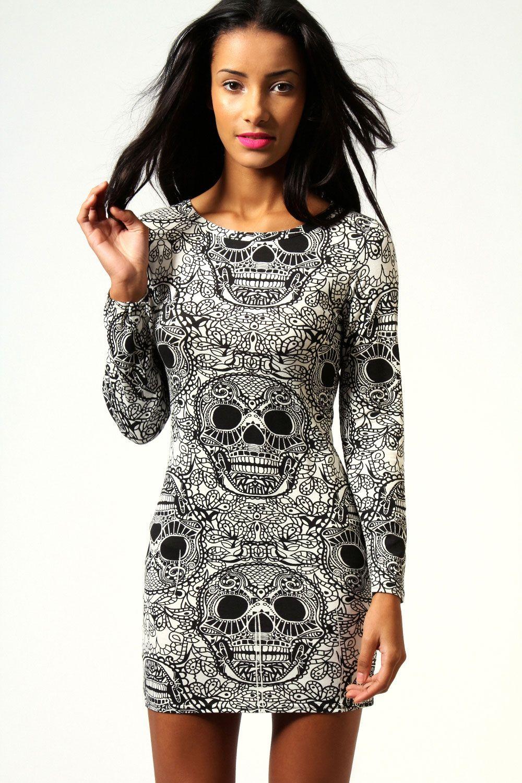 717888ccab0d Boohoo Myla Skull Print Long Sleeve Bodycon Dress in Cream