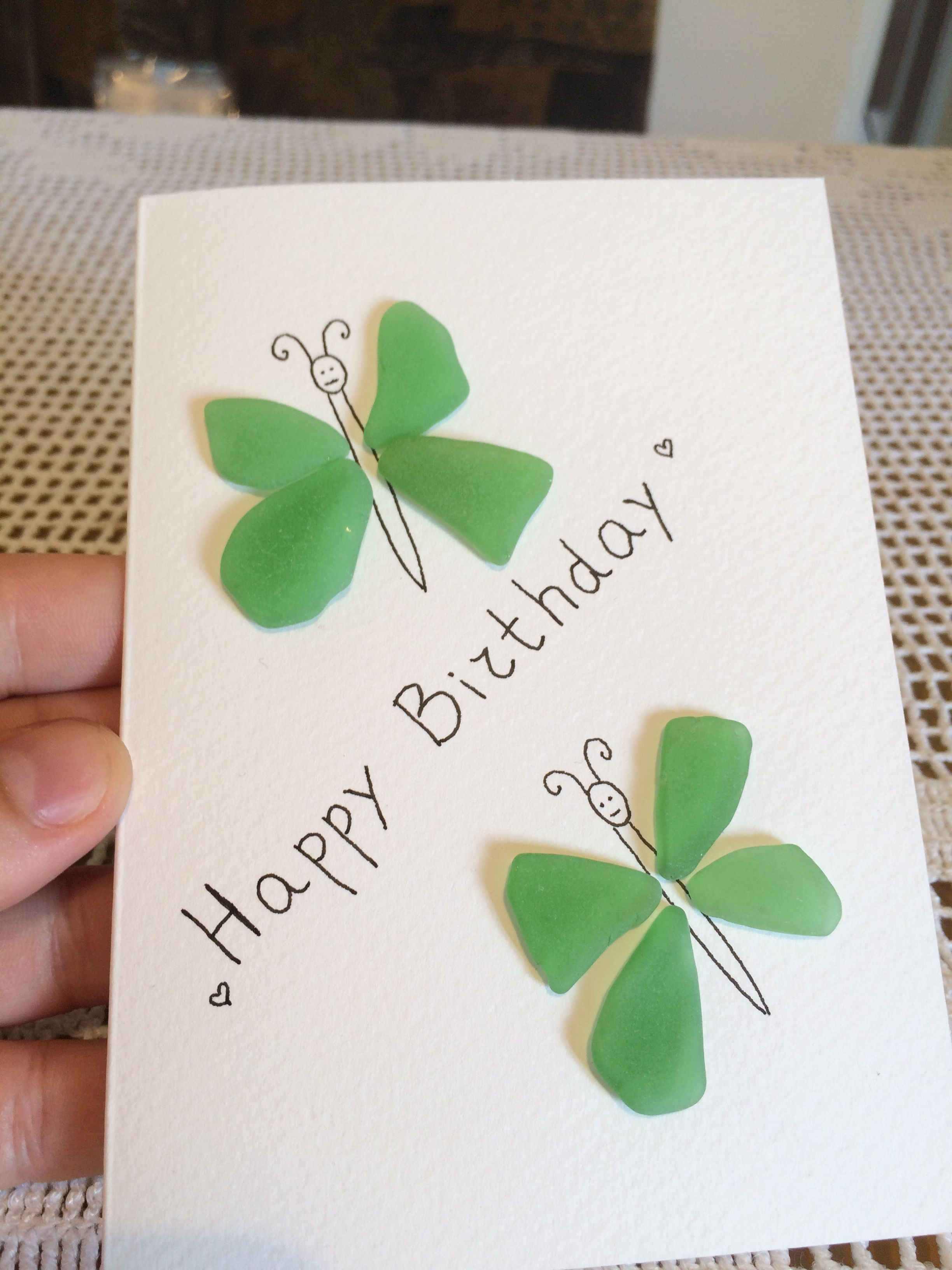 Sea Glass Art Greeting Card Handmade Birthdaycard