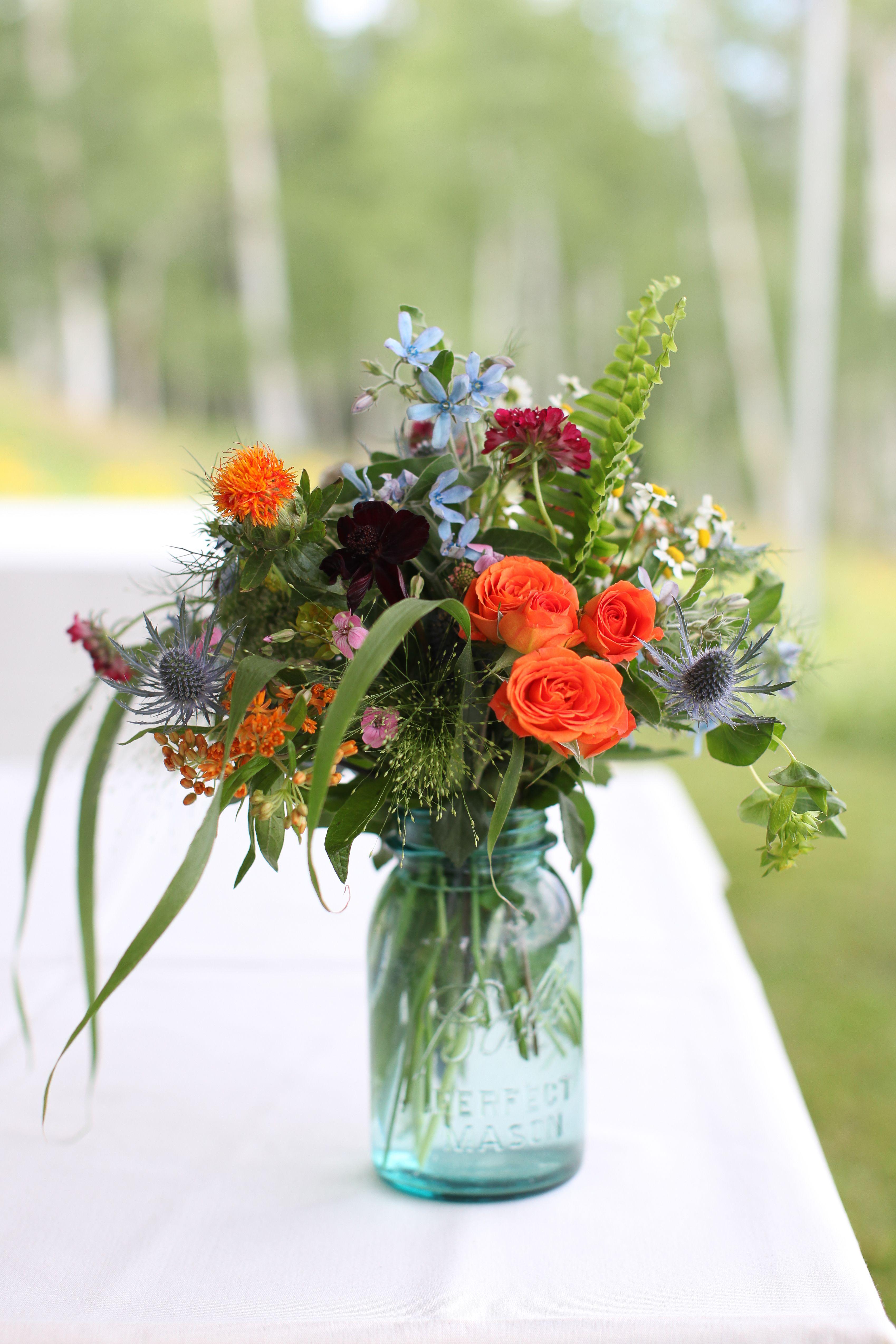 Wildflower Arrangement In Ball Jar By Mountain Flowers Of