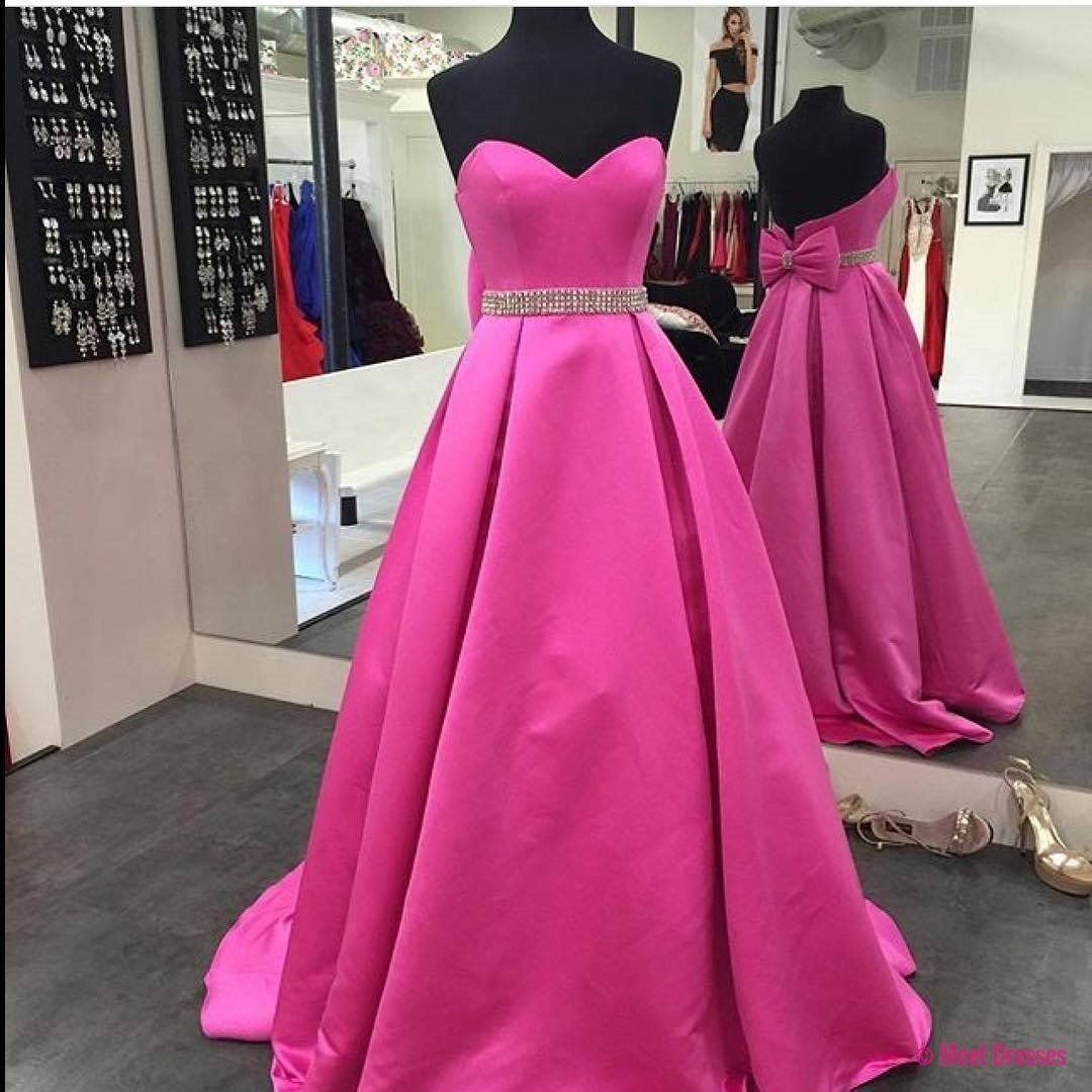 Fuchsia satin aline prom dresses long sweetheart evening dresses