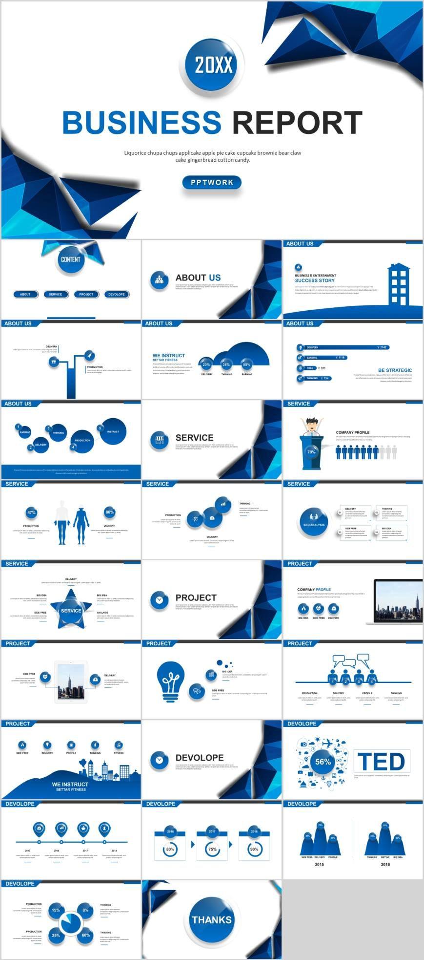 Blue Layout Report Design Powerpoint Template Pcslide Com
