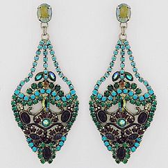 Sorrelli Emerald City Collection Chandelier Earrings.  Spectacular earrings in rich emerald green with purple and blue crystals.  Rich jewel tone shades that will shimmer night and day.