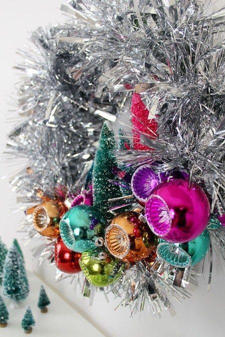 Make It Mid Century Modern Tinsel Wreath Retro Christmas Decorations Retro Christmas Tree Christmas Decorations Ornaments