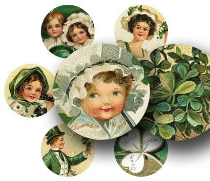 Ten little St. Patricks day Victorian-era postcards, all digitally restored and cut into 1-inch circles for making pendants and such. Printable collage sheet by piddix.