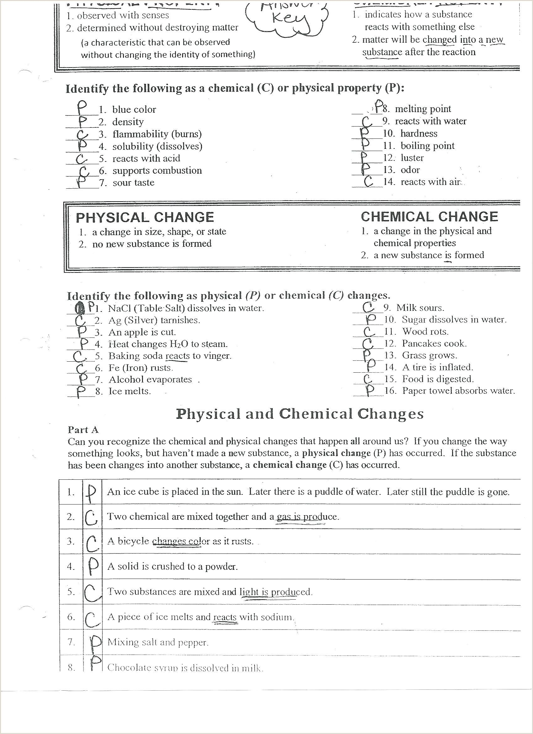 Physical Vs Chemical Change Worksheet Answers Physical Vs