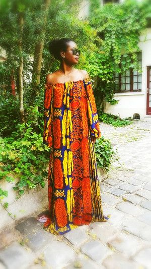 robe longue wax ethnique imprime africain chic afro tendance robes pinterest robe long. Black Bedroom Furniture Sets. Home Design Ideas