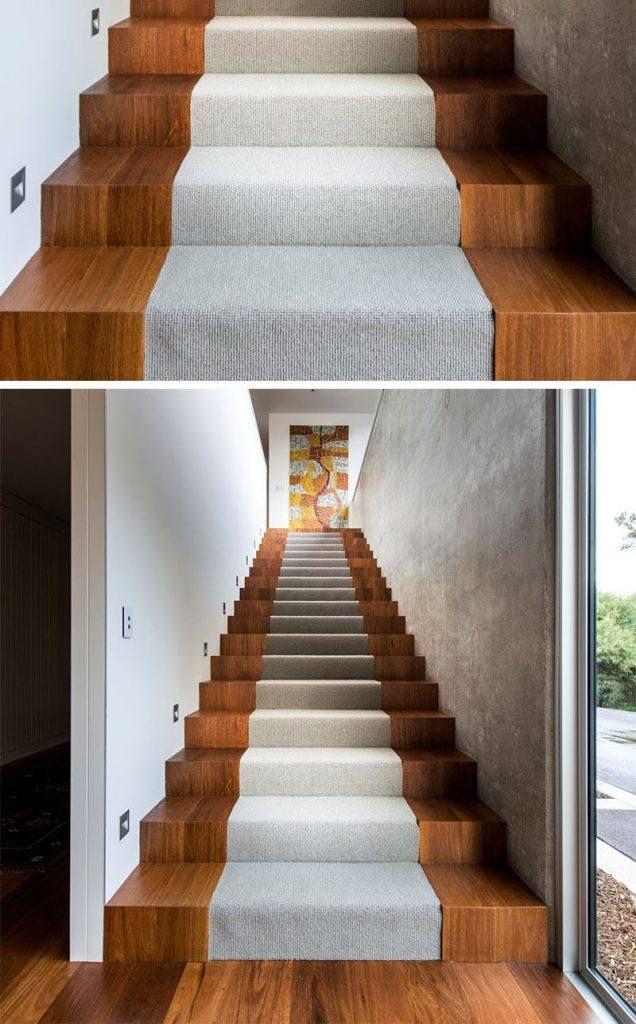 Tapis Escalier Interieur #10: Escalier Intérieur En Bois-massif-chaleureux-tapis-escalier-gris