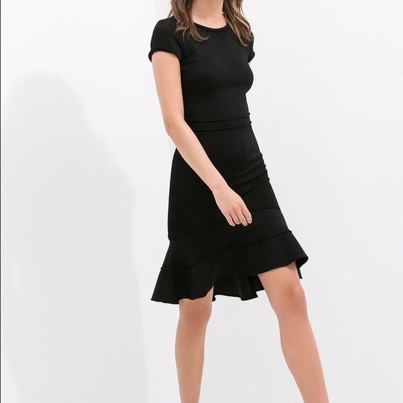 147ae0c5 Zara Ruffle Hem Dress Zara ruffle hem dress in black. This is so  flattering. Thick material. Never worn ❤ no trades Zara Dresses Midi
