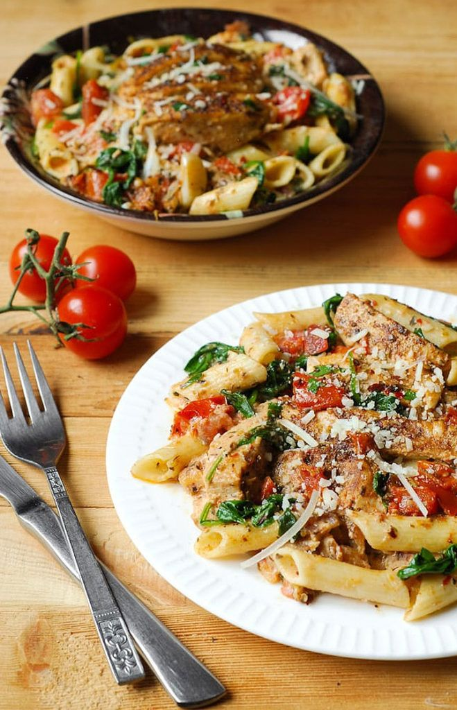 Chicken Penne Pasta with Bacon and Spinach in Creamy Tomato Sauce Recipe