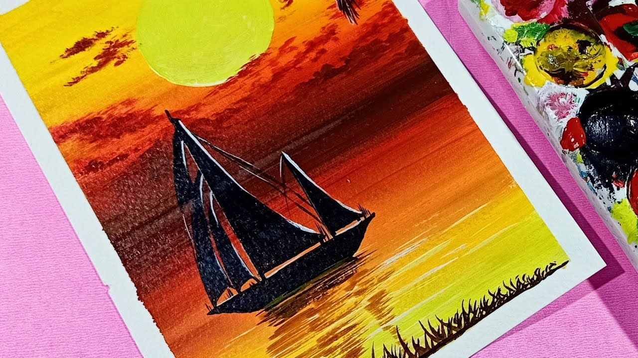 Acrylic Painting Of A Sailboat Sunset Seascape Scenery Lonely