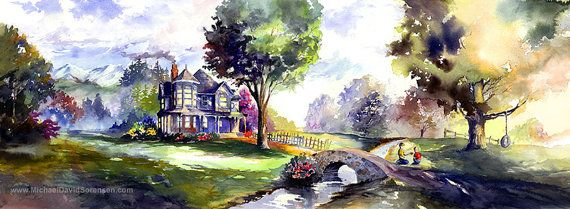 Old Farm House Watercolor Landscape Art Two Boys Playing Tire Swing In Tree Watercolor Trees Pat Landscape Art Watercolor Landscape Watercolor Trees