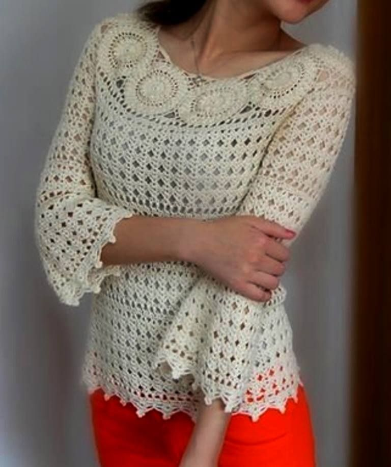 Crochet patterns free: Very stylish blouse made in crochet yarn with ...