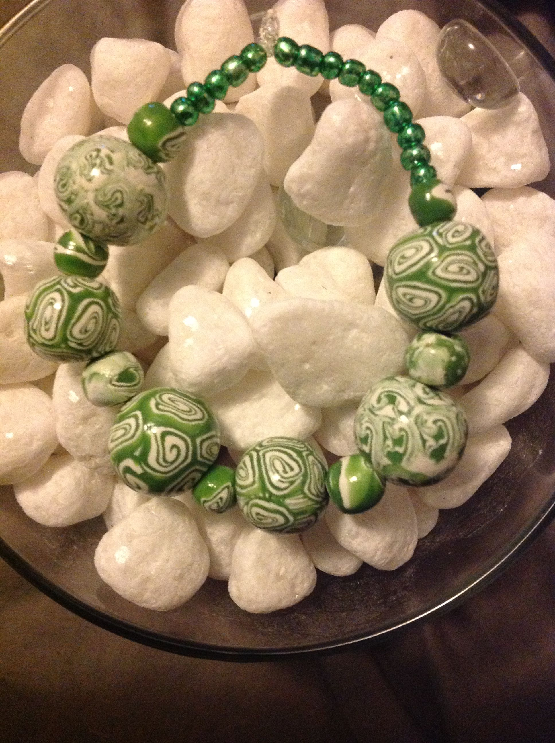 Green design polymer clay bracelet