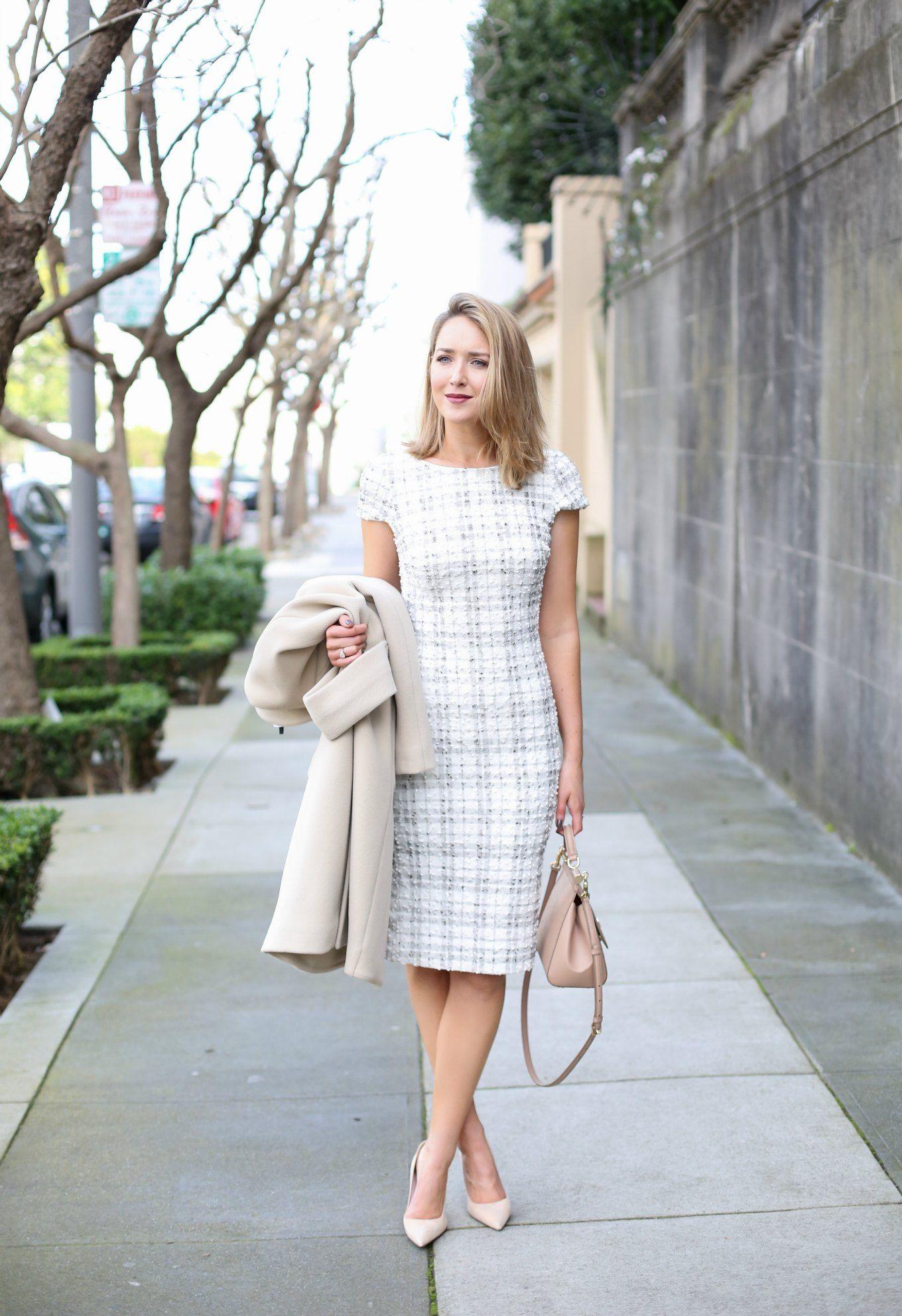 Ivory Plaid Sheath Dress Fashion Modest Fashion Womens Fashion Dressy