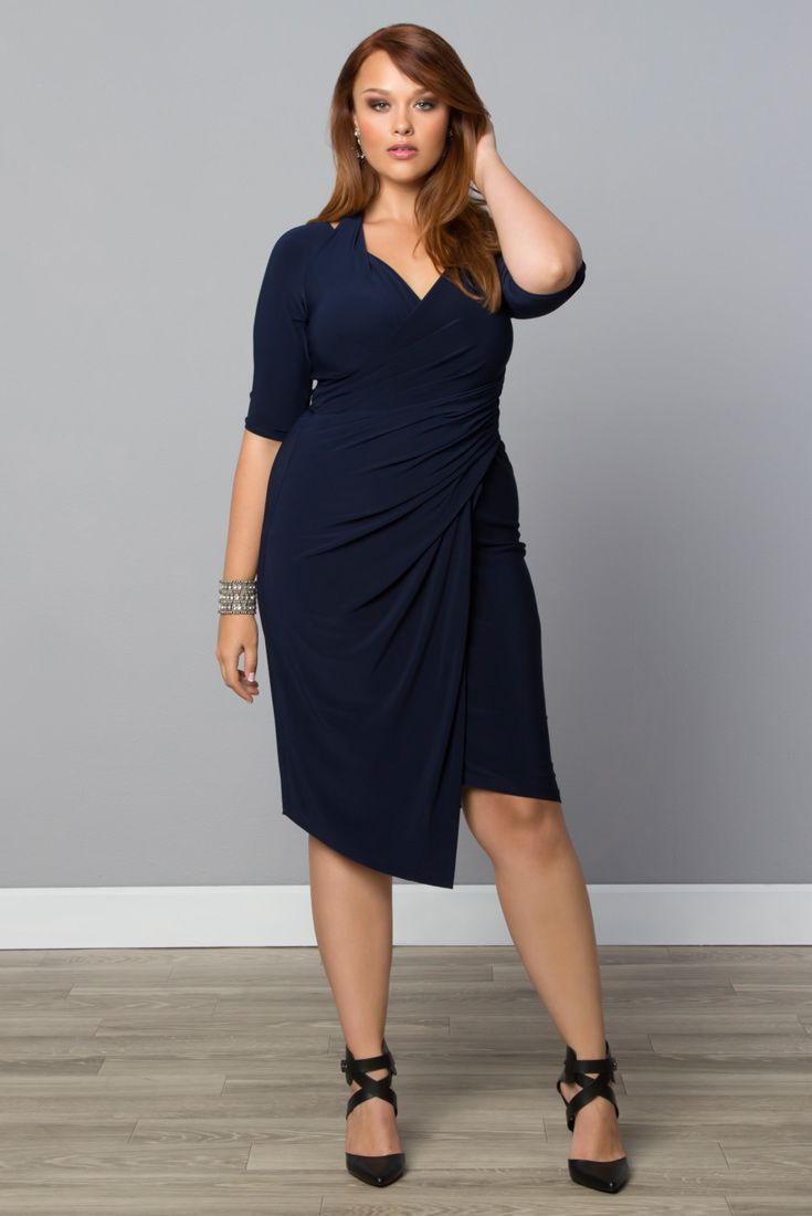 Show Off Your Curves In Our Sultry Plus Size Foxfire Faux Wrap Dress