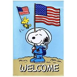 Astronaut Snoopy Welcome Flag
