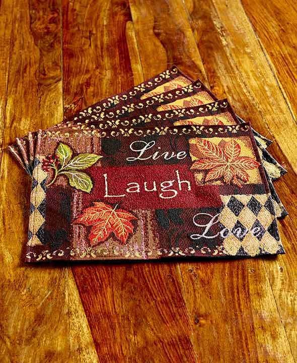 4 Table Mats Live Laugh Love Tapestry Fall Decor Country Dining Or Kitchen  #Unbranded