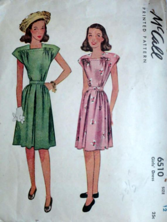 Vintage 40\'s McCall 6510 Sewing Pattern Girls Dress Size | Vintage ...