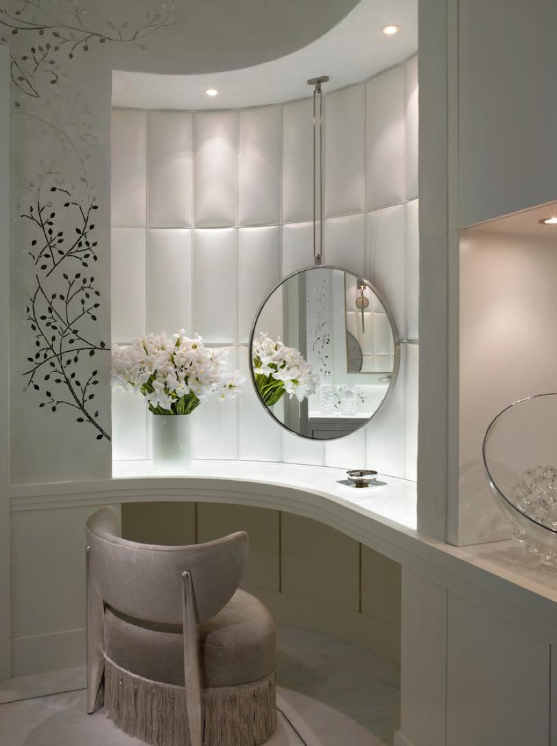 Mirror nightstands contemporary bedroom kimberley seldon design - Ocean Penthouse Miami Beach Contemporary Powder Room Miami Alene Workman Interior Design Inc