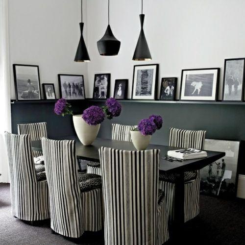 Streifen Stuhl Decken Lila Blumen Esszimmer Schwarz Bilder Regal