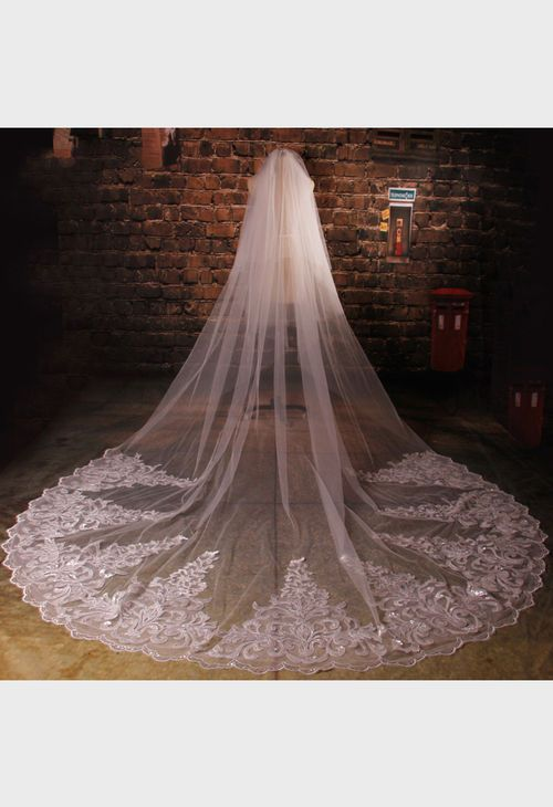Layers Wedding Bridal Veil Lace White//Ivory Cathedral Length Birdcag Edge Bride