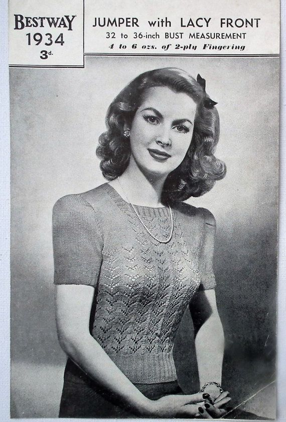 Vintage Knitting Pattern 1940s Women\'s Lacy Sweater Jumper 40s ...