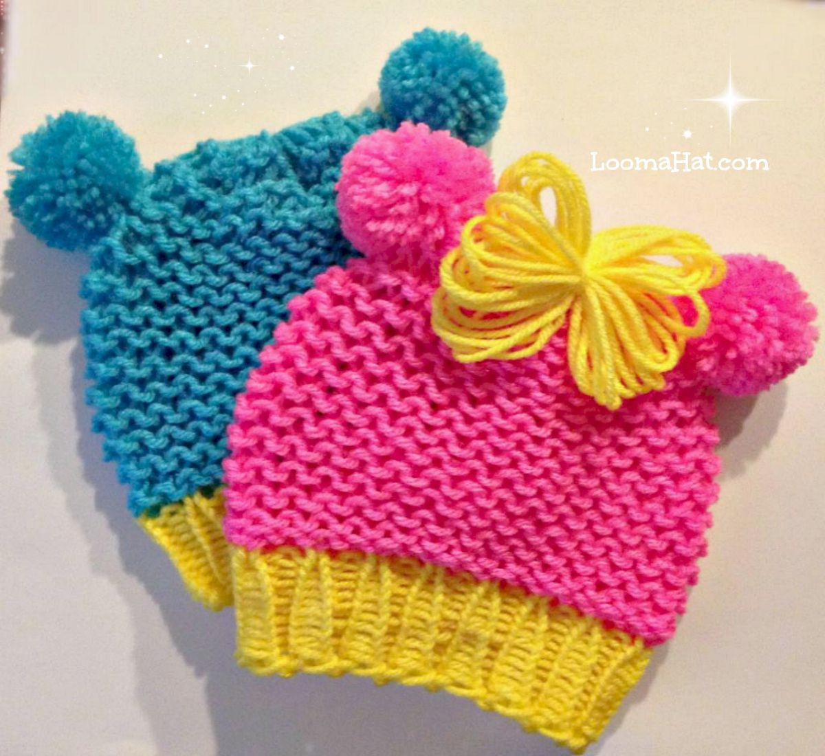 Loom Knitting Baby Hat Patterns : Loom knit baby hat with pom animal ears quicker