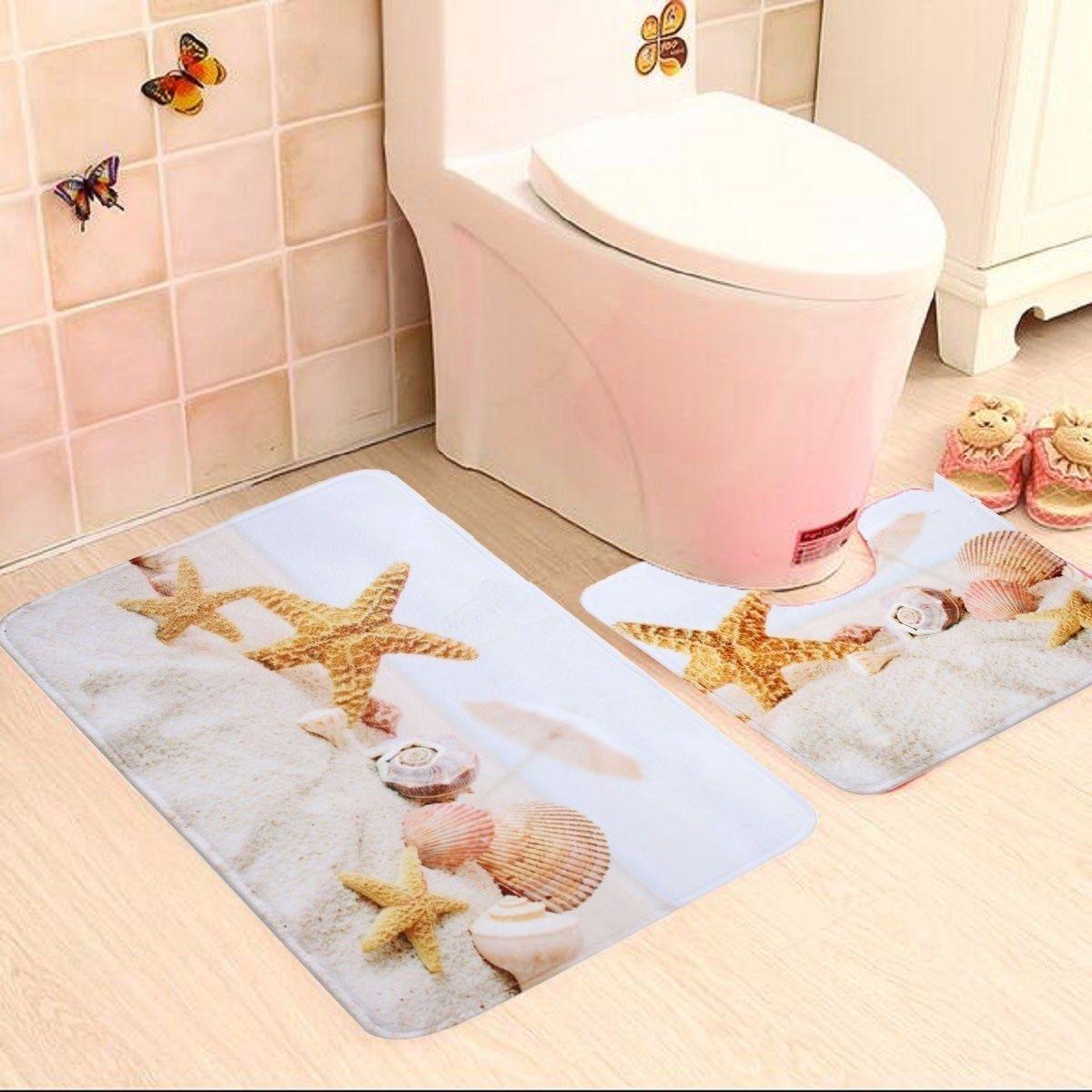 Door Mat Bathroom Rug Bedroom Carpet Bath Mats Rug Non-Slip Starfish and shells