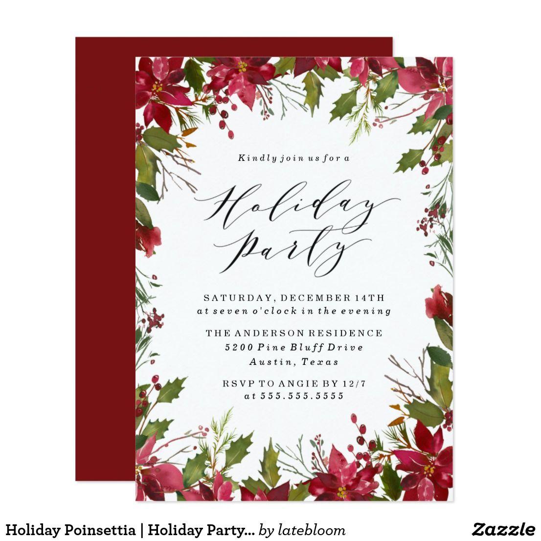 Holiday Poinsettia   Holiday Party Invitation   Holiday party ...