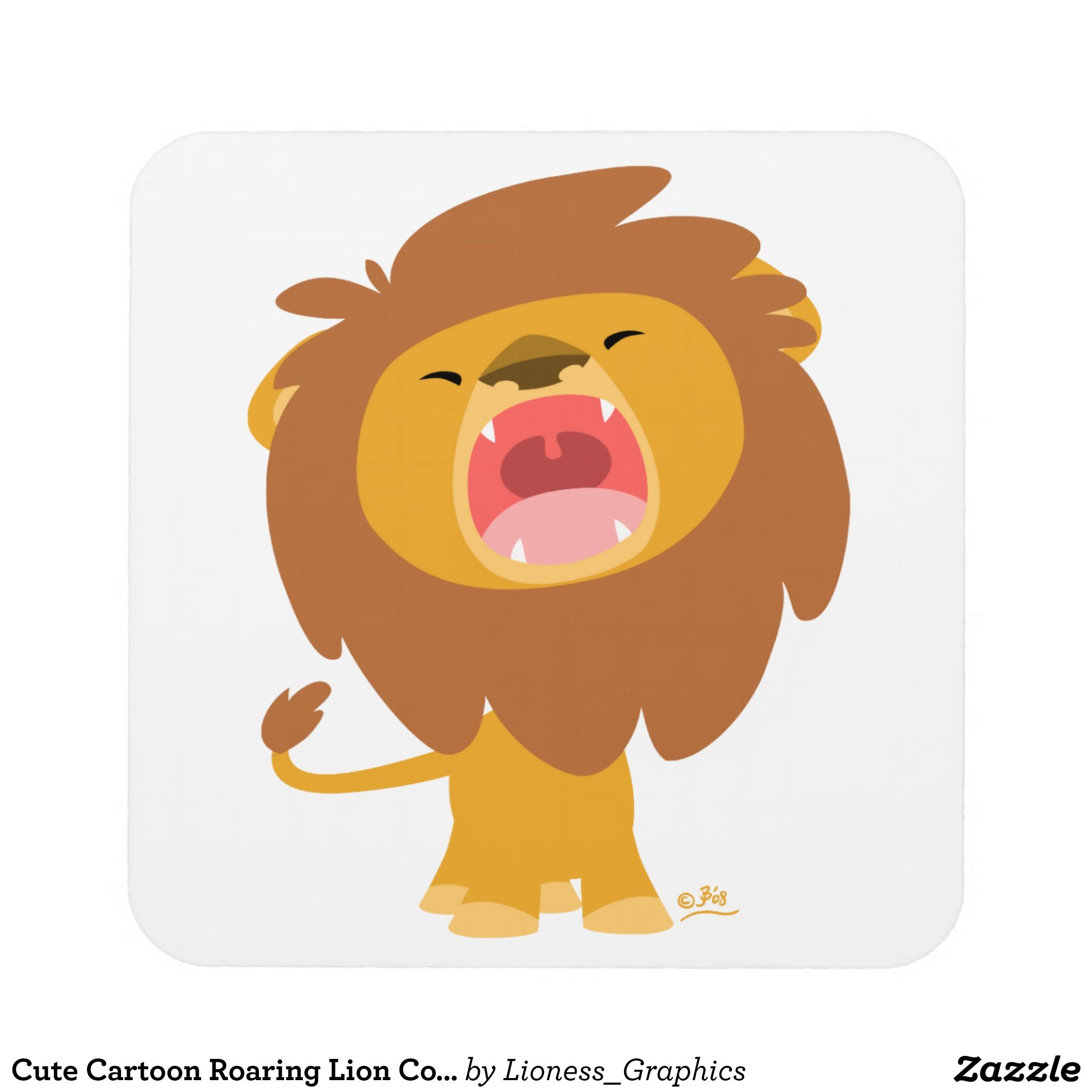 Cute Cartoon Roaring Lion Coasters Zazzle Com Tattoos Street Art