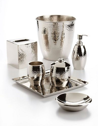 Home bath accessories clara antiquity hammered metal tumbler hudson 39 s bay powder room for Hammered metal bathroom accessories