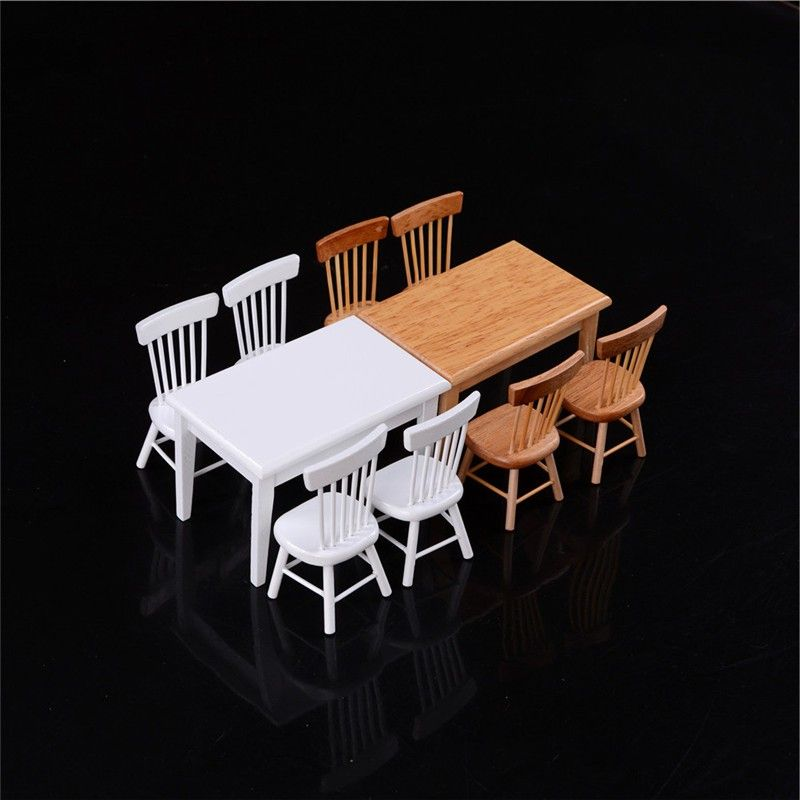 Dollhouse Miniature 1 Table and 4 Chairs Furniture Garden