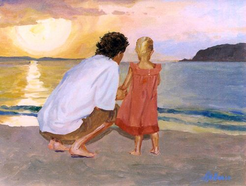 Contemporary Painting Father And Daughter Original Art From