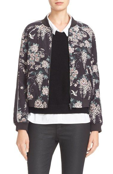 a7729c1c759 JOIE Mace Print Quilted Silk Baseball Jacket. #joie #cloth # | Joie ...
