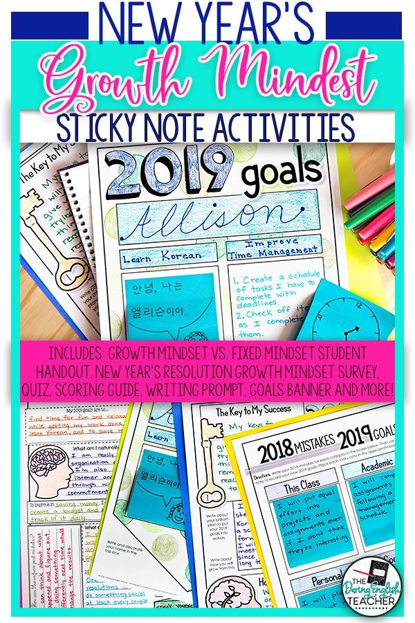 New Year's Resolution Growth Mindset Sticky Note