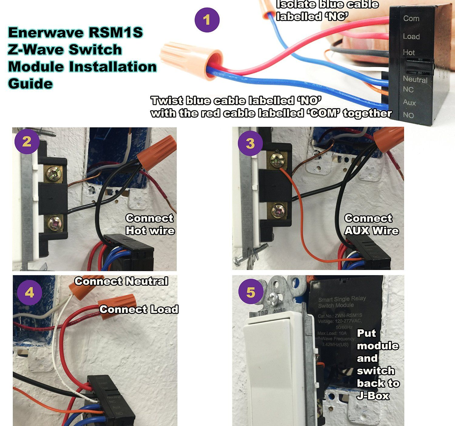 Enerwave Zwn Rsm1s Z Wave Smart Single Relay Switch Module Convert Wiring Any In