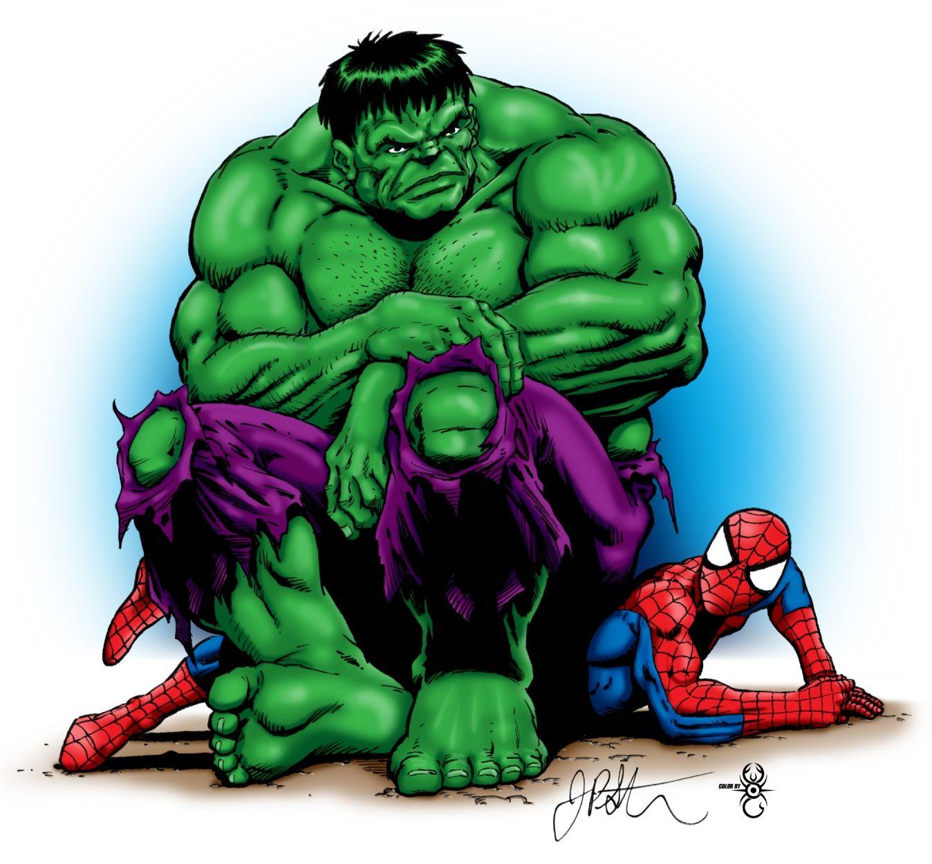 hulk spiderman colored comic art
