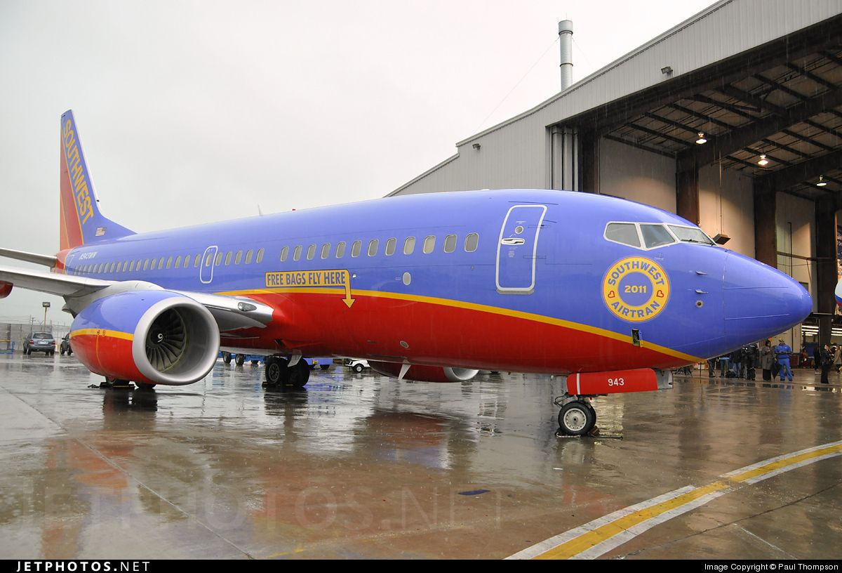 A Southwest Airlines aircraft given a special nose logo